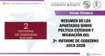RESUMEN DE LOS APARTADOS SOBRE POLÍTICA EXTERIOR Y MIGRACIÓN DEL 2º. INFORME DE GOBIERNO 2019-2020