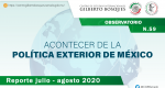 Observatorio. Acontecer de la Política Exterior de México no. 59. Reporte julio - agosto 2020