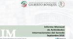 Informe Mensual de la Actividad Internacional del Senado - Septiembre 2016