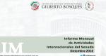 Informe Mensual de la Actividad Internacional del Senado - Diciembre 2016