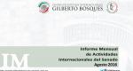 Informe Mensual de la Actividad Internacional del Senado - Agosto 2016