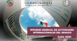 Informe Mensual de la Actividad Internacional del Senado - Julio 2021